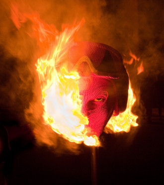 """The Devil"" match head sculpture (burning).  Credit Alan Laughlin."