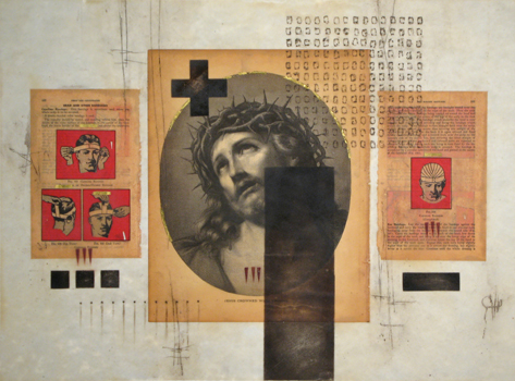 """Crown of Thorns and Capeline Bandage. 2008. Vintage Bible and first aid manual pages, rust, gold leaf, crushed stone and beeswax on paper. 24x 18""""."""