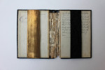 Remembering the Book III. 2012. Altered Bibles, each with panel of ashes and egg yolk.