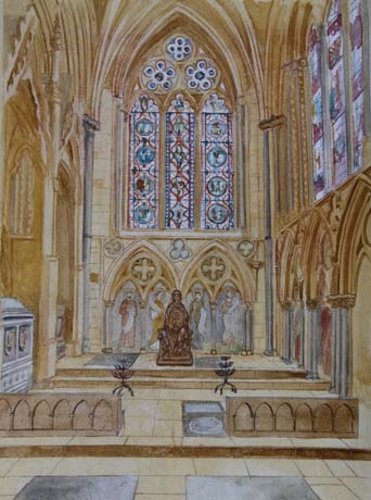 Aidan Hart, Watercolour showing the statue in place and possible additions to the chapel, used with permission of artist.