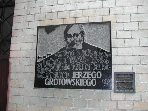 Plaque showing the location of Grotowski's Teatr Laboratorium from 1965-1984, Wrocław, Poland.