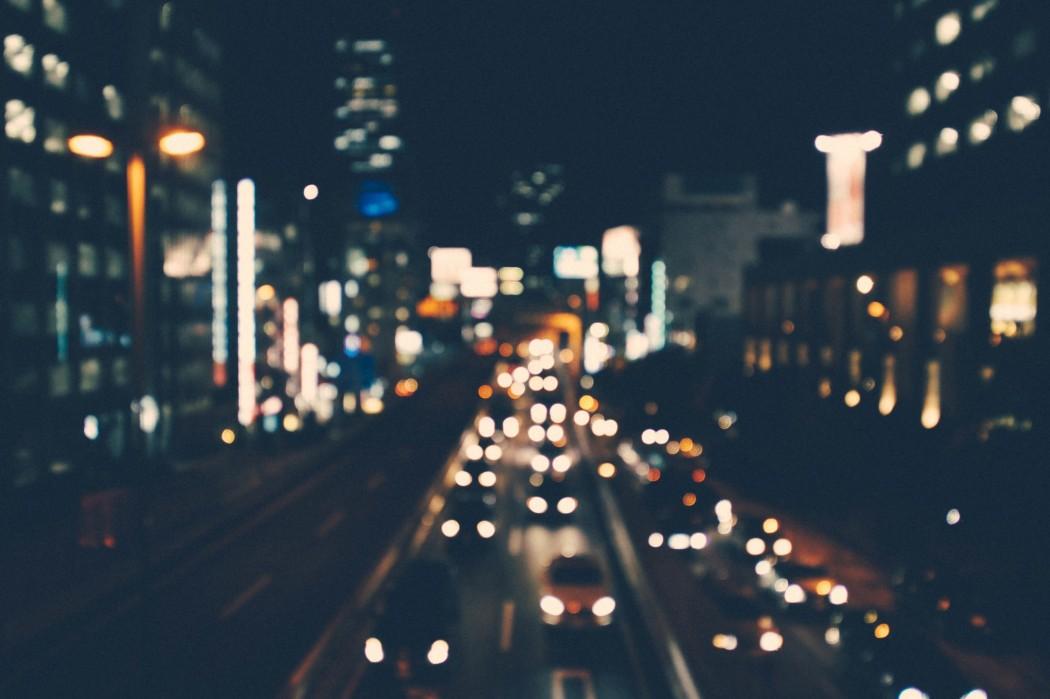 city, night, traffic